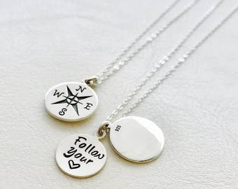 Personalized Compass charm necklace, Follow your heart, secret message, graduation gift for her, personal text locket, gift for graduate