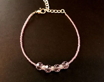 Pink seed bead glass bead bracelet
