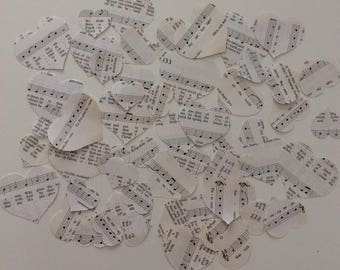 Vintage Heart Cut Outs, Music Notes, Vintage 1960's, Ephemera, set of 50