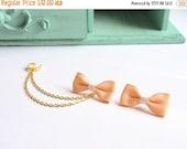 SALE Peach Bow Gold Double Chain Ear Cuff Earrings (Pair)