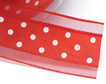 """Red Ribbon with White Dots Satin 1""""width 5 yards"""