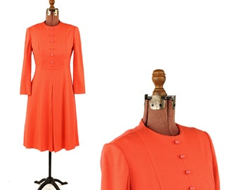 Vintage 1960's Rae Phillips Bright Coral Wool Knit A-line Flair Skirt Preppy Winter Retro Dress S M
