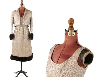 Vintage 1960's Kiki Hart Mink Fur Trimmed Metallic Silver + Olive Brocade Jacket + Dress Set S