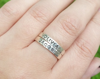 Sterling Silver Name Rings, Stackable Rings, Hammered Silver Ring, Custom Name Ring, Personalized Ring, Name Ring for Mothers, Mothers Ring