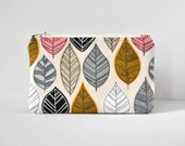Padded camera pouch gadget coin purse modern hand drawn leaves in mustard yellow,grey,pink and white.