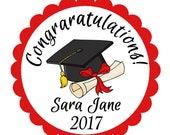 Class of 2017, Graduation Stickers, School Colors, Mortarboard Graduation Cap, Graduation Party Favor, Party Favor Labels, 24 STICKERS (477)