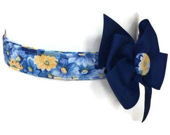 Blue and Yellow Floral Dog Collar size Large