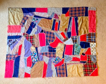 Vintage Crazy Quilt Top Hand Embroidered Ready to Finish. Various Fabrics
