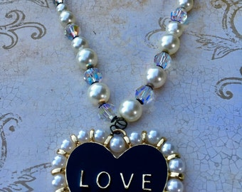 Love, Pearl, Swarovski Necklace, Wedding Jewelry, Valentines Day Jewelry, Gifts For Her