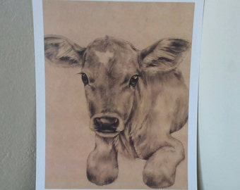 Little Love - Art Print Baby Cow 9x12