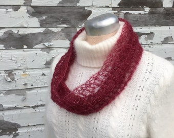 Silk & Kid Mohair Lace Cowl Scarf with Silver Sparkles