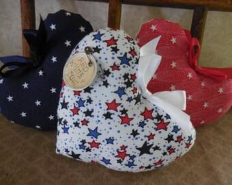Primitive Patriotic Heart Set Bowl Filler Tucks Americana 3 Star Ornament Hearts