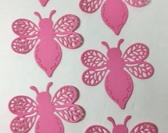 """Set of 6 Card Stock Pink Bees Approximately 2.5""""x2.5"""""""
