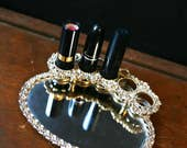 Vintage Lipstick Holder with Mirrored Jewelry Dish, For 5 Lipsticks, Vintage Makeup Display, Vanity Decor, Lipstick Organizer