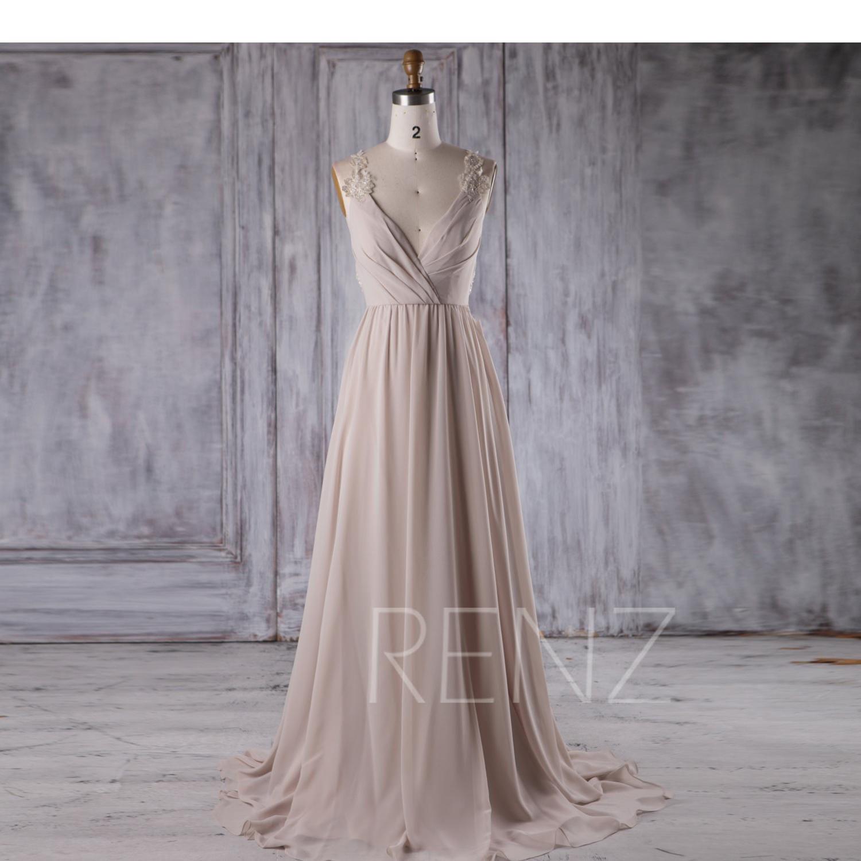 Cream chiffon bridesmaid dress deep v neck wedding dress zoom ombrellifo Images