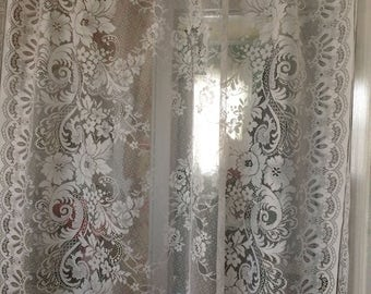 """49x 78"""" Lace curtain panels, white lace,  shabby chic, Cottage, Victorian, Romantic, listing is for 2 sets 4 panels"""