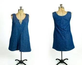 SPRING SALE Vintage 1970s Dark Denim Wash Sleeveless A-Line Scoop Neck Tent Dress with Side Pocket Size M Medium L Large