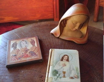 Antique Unbreakable Sacred Statue Limited Ed., Plaque and 1936 Bible LOT OF 3