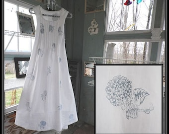 Free shipping in US-XS-XXL-Blue Hydrangea,SleevelessCotton Nightgown,Handmade,Vintage Fabric, PinTucked, Waltz Length