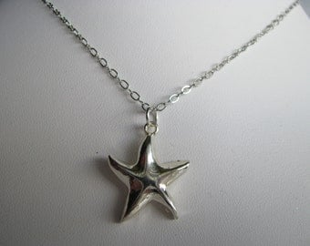 Silver Starfish Necklace, Silver Necklace, Minimalist necklace, Simple chain