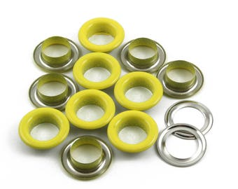 Size: 17*10*5mm (OD * ID * Height) Yellow Round Eyelet Grommet (YELLOW-RG17)