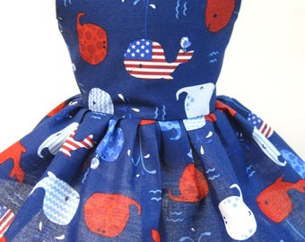Patriotic Whales, Sleeveless Dress for your 18 Inch Doll B
