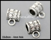 2 Antiqued SILVER 9x10mm Charm HOLDER Bail Beads - 10mm Round Tube w/ Large 4mm Hole Tibetan Style Boho Hangers - Usa Discount - 5889