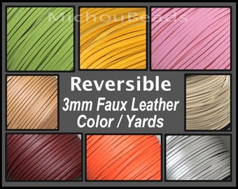 Reversible FAUX LEATHER 3mm Flat Cord - 3x1.5mm One Side Covered imitation Smooth Textured Leather Faux Suede Cording Pick Color Length USA