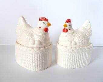 Vintage Avon Ceramic Chicken Salt & Pepper Jam Jar Set