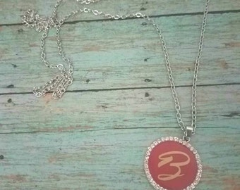 B initial - Initial necklace- red necklace- personalized necklace