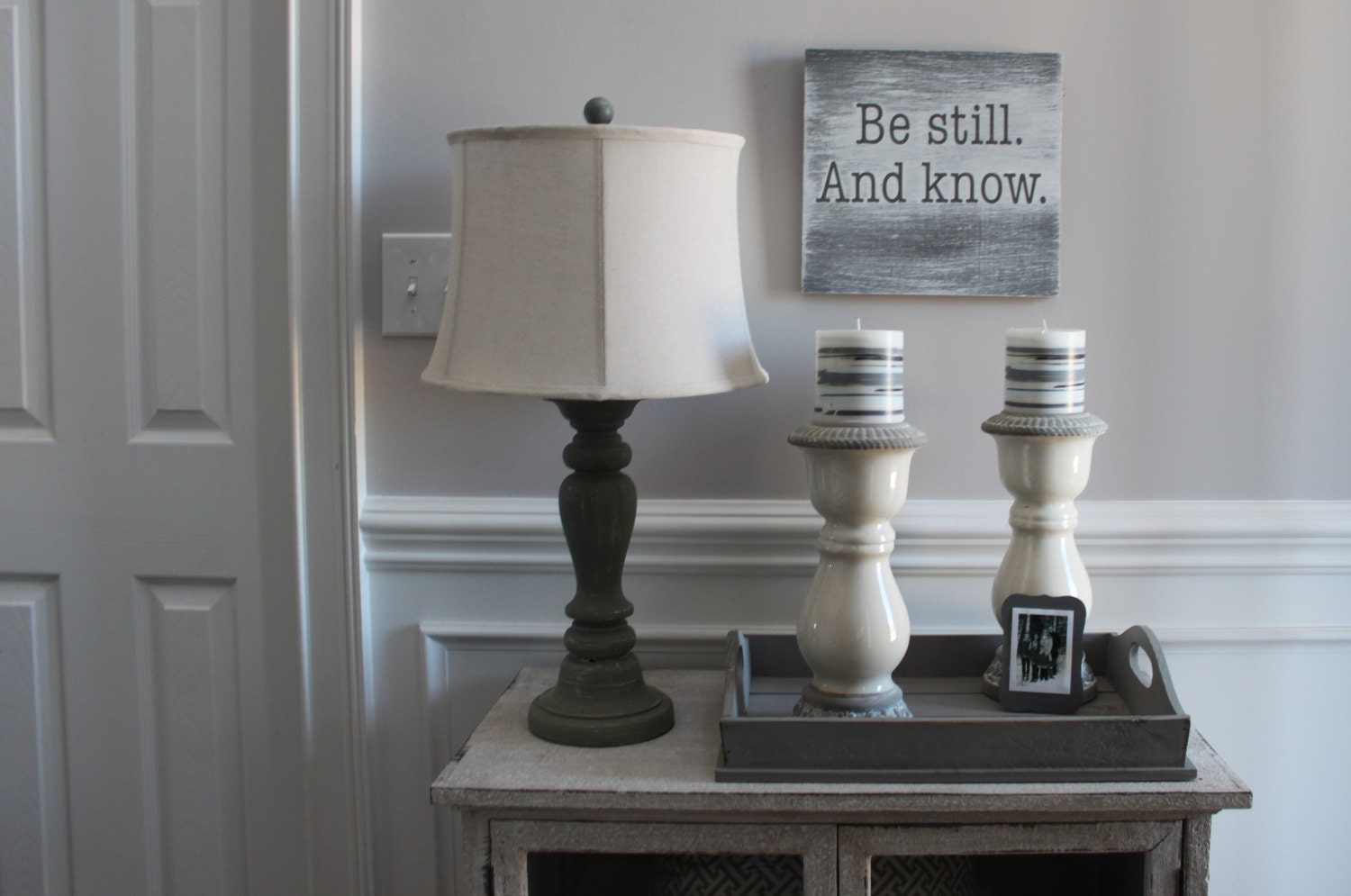 Be Still And Know Vintage Whitewashed Wood Wall Art Sign