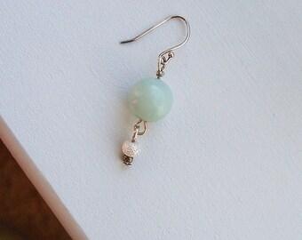 Green Earrings Mint Round Bead Pearl Drop Earrings in Sterling Silver