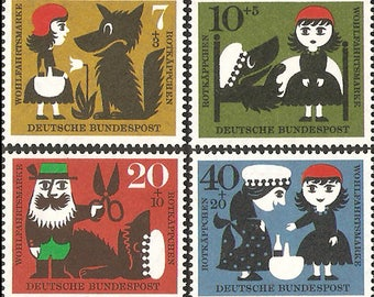 Little Red Riding Hood - Grimm Fairy Tales - 1960 FRG Stamp - 1 set - 4 Sheets - No Discount