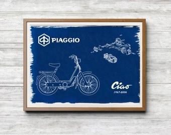Piaggio Ciao A4 Hand coated traditionally made blueprint cyanotype