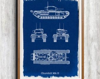 Churchill Mk 2 Tank A4 Hand coated traditionally made cyanotype blueprint