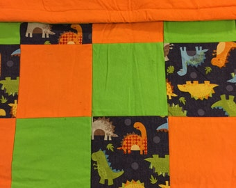 READY TO SHIP- Little Boy Dinosaurs, Lime Green, Green, Orange, Dinos, Toddler, Lap Quilt, Warm, Crib Size, Baby, Throw