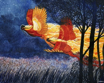 Firefowl - Original Watercolor Painting (matted)