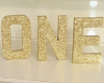 "Gold ""ONE"" Glitter Letters ~ Birthday Decor ~ 8"" Free Standing Set of 3 ~ Photo Prop ~ Table Decor"
