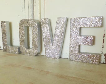 """LOVE Letter Sign ~ Silver Glitter ~ Photo Prop ~ Engagement, Anniversary, Shower, Wedding, Sweetheart Table  Decor ~ 8"""" Set of 4 Letters"""