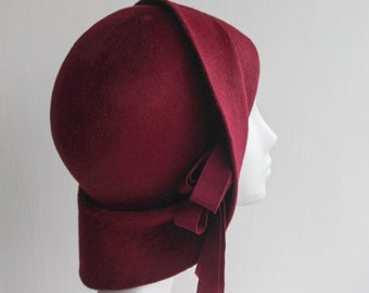 The Anais Hat - 1920s Hat - Red Cloche - Classic Millinery - Formal Hat - Church Hat - Fur Felt Hat