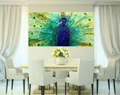 SALE XLarge Abstract painting,Original comtemporary Art,Peacock Pride,lots of texture Ready to hang  by Nicolette Vaughan Horner 48x24