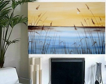 SALE ORIGINAL Abstract oil 3ft by 2ft  Contemporary modern fine  art  abstract  Florida Over Golden  Marsh  painting  by Nicolette Vaughan H