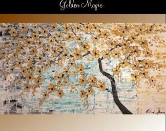 """SALE 60"""" Oil Landscape Contemporary Modern palette knife Art Golden Cherry Blossom Tree impasto oil painting by Nicolette Vaughan Horner"""