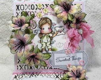 OOAK Magnolia Tilda Easel Cards - Set of 3 - Love, Girly, Pinks, Blacks, Whites, Greens