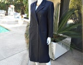 Vintage 1980's Fairbrooke Black Pinstipe Wool Coat Dress - Size 10