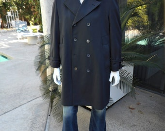 Vintage 1970's Rainfair Navy Blue Rain Coat - Size 42