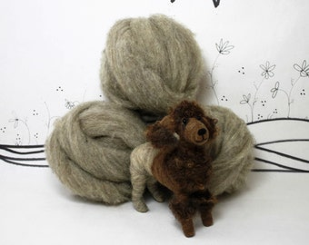 Needle felting core wool roving, gray or tan natural wool roving, wool stuffing, core wool,4 ounces core wool, 2 ounces core wool, wool batt