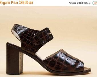 25% OFF 90s Vtg Espresso PATENT Leather Crocodile Chunky Platform Heel Sandal / Charles David Ankle Strap Mary Jane Minimalist Mod 10 Eu 42