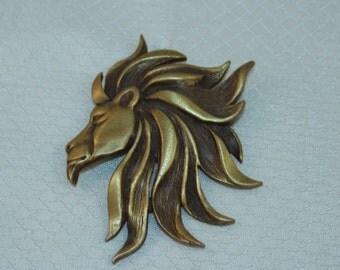 Rare Jonette Jewelry Fierce Lion Brooch, Bronze Lion Head