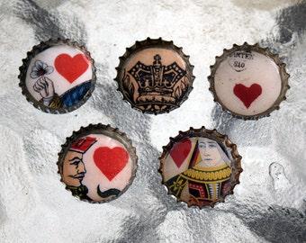 Queen of Hearts Bottle Cap Magnet Set of 5
